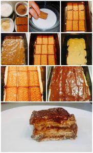tarta de galleta chocolate y flan paso a paso